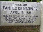 Panfilo de Narvaez, first Spanish Explorer in Boca Ciega Bay, 1 mile from the condo on Park Street.