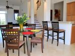 Dining room with seating for six.