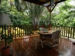 Feel the stress melt away as you relax on this deck- at eye level with monkeys and tropical birds.