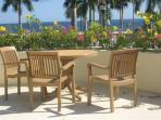 Sueno del Mar sitting area on upper deck with open views to the beach, bay, and ocean