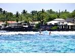Watch your surfers from the lani as you dine