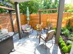 Private, sunny, garden view patio with seating, barbecue, umbrella. Morning coffee outside anyone?