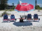 beach chairs, toewels, umbrella, cool bag all available for the beach &  wagon to carry everything