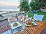 Dinner on the beach lawn