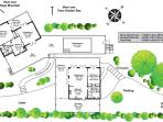Makere House, Cottage & Pool site and floor plans