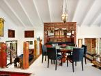 a beautiful dining area with expansive ocean views...