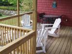 Covered  Porch with Table & 4 Chairs plus 4 Adirondack Chairs