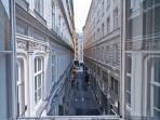 View from the living room: the picturesque Kleeblattgasse