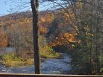 View upriver from the deck at the Lodge