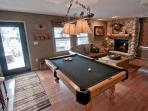 Pool table, fireplace, board games
