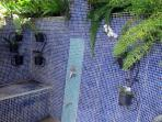 Outdoor shower area with ferns and orchids