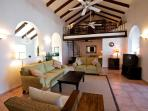 Spacious main Living Area with Abaco pine beams and cathedral ceiling
