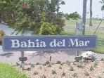 Sign board for Bahia del Mar on Isla
