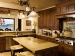 Gourmet Kitchen  ,6gas burner stove, double ovens, s.s refrig , microwave,wine cooler
