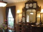Dining room mirror from England circa 1890's and Low E/argon filled energy efficient windows