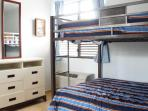 Second bedroom with air condition and top and bottom full size bunk beds