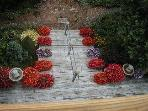 View of Impatiens on stairs from upper Master Bedroom balcony!