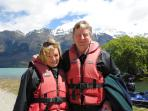 Owner hosts Amanda and John off on a jet boat trip.