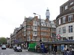 Warren Street station and Tottenham Court Road and the end of the street