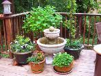 Redwood Rendezvous, Deck Detail, Garden Setting
