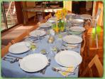 Dining table set for a baby shower