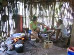 On our property and in our village you will still find traditional Mayan cooking huts in use