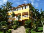 building and tropical garden