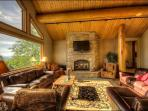 Living Room has seating for 10 around the Fireplace & HDTV