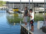 Fishing is fun off the boat docks.