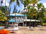 1 of 2 restaurants on beach in front of condo: Sangria's is open for breakfast, lunch, & dinner