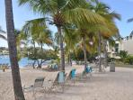 The beach in front of the condo has lounge chairs and palm trees for shade, if desired.
