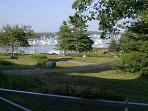 View of West Boothbay Harbor from the front porch of the 1780 Farmhouse