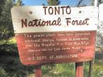 Tonto National Forest hiking fishing hunting