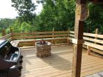 Gas Grill, Stacked Stone Gas Fire Pit, Bench Seating, Outdoor Speakers and The 30 Mile Mountain View