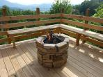Fire Pit, Bench Seating and Spectacular View overlooking Wears Valley with 30 mile View of mountains