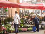 flower market in front of the building