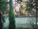 Sol Duc River view just off back deck at Cozy 2!
