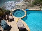 Our hot tub is perched at the edge of the cliff overlooking the Caribbean