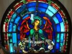 Antique Byzantine stained glass angel window