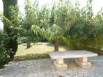 Table en pierre et jardin du Mazet