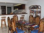 Large dining room seats 6. Breakfast counter with 3 stools