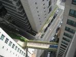 Balcony view down to street