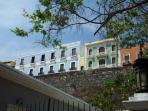 View of colonial buildings from Paseo de la Princesa.