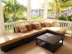 Modular furniture on lanai can be easily moved to become two lounges