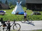 indian tipi, bike,big garden
