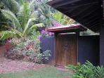 antique garden doors leading to interior courtyard
