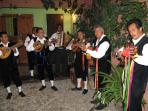 Mariachis playing in our courtyard