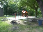Playground Picnic Table and Grill near fishing hole!
