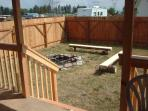 Enclosed yard with firepit and bar-b-Que