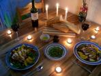 The first meal on the new, hand made, laurel dining set;  chicken/spinach salad w/ caviar and